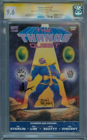 Thanos Quest  #1 CGC 9.6 Signature Series Signed x2 Starlin Sketch OA Movie comic book